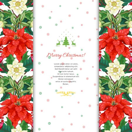 Christmas card. Borders with poinsettia flowers, hokky, hellebore. Insertion with winter ornament for your text