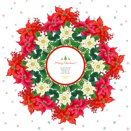 New Year round frame with place for your text. Christmas Star flowers, holly and hellebore. Winter snowflakes pattern on backdrop
