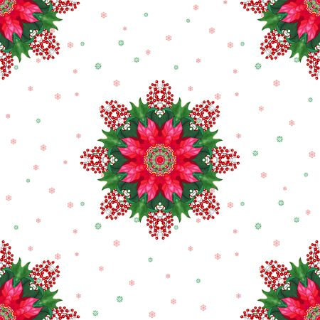 Seamless background with Christmas star flowers, holly berries and snowflakes. Winter design