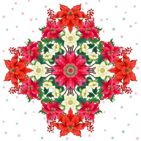 Christmas background with square pattern. Poinsettia flowers, holly berries and hellebore. Winter snow ornament