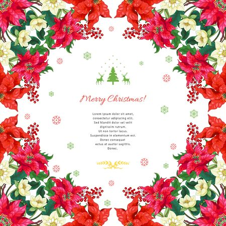 Christmas background with snow ornament and place for your text. Corners with poinsettia flowers, holly berries and hellebore