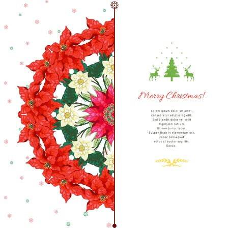 Christmas card with winter ornament. Round pattern with branches of poinsettia and hellebore flowers. Place for your text