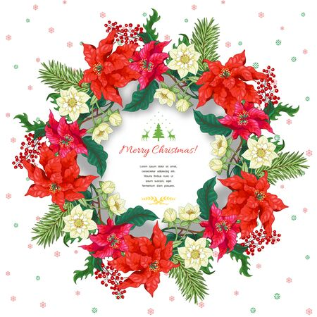 Christmas card with place for your text. Winter snow ornament on backdrop. Wreath with fir-tree and holly branches, poinsettia and hellebore flowers