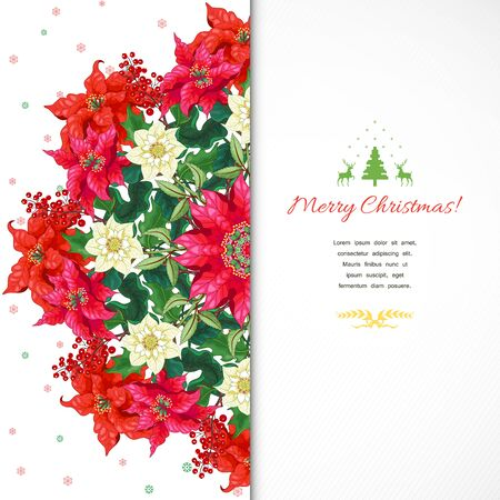 New Year card. Round pattern with branches of Christmas star flowers, hellebore flowers and holly berries. Winter ornament on backdrop. Place for your text Illustration