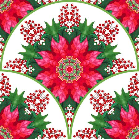 Vector seamless background. Round pattern with Christmas stars and holly