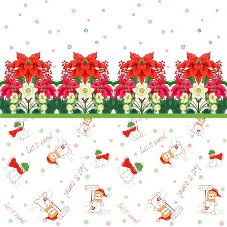 Seamless background with border. Christmas Star flowers, holly and hellebore. Winter pattern with snowmen on backdrop 矢量图像