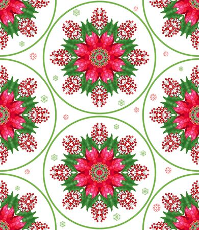 Seamless vector background. Round pattern with Christmas stars, berries and holly. Winter snow ornament