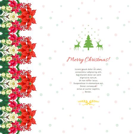 Christmas card with border of poinsettia flowers, berries, hellebore. Winter snow pattern and place for your text