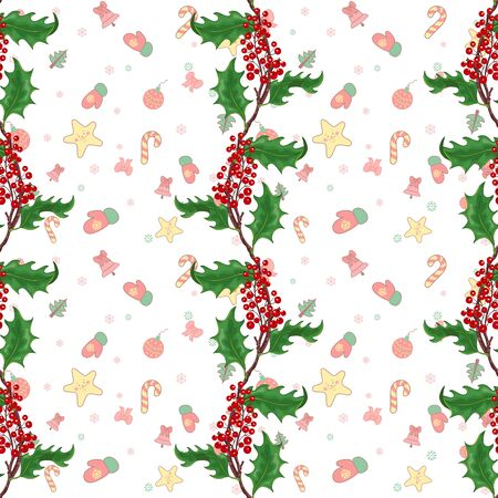 Seamless background with Christmas pattern of borders of holly branches Illustration