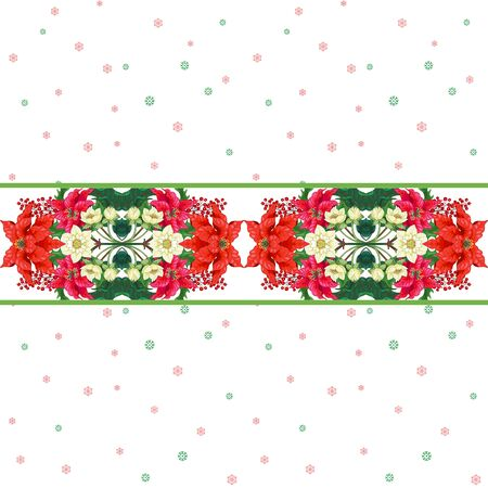Seamless background with border of poinsettia flowers, berries, hellebore. Winter Christmas pattern on snow backdrop Illustration