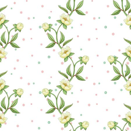 Winter seamless background with lines of hellebore flowers and snowflakes