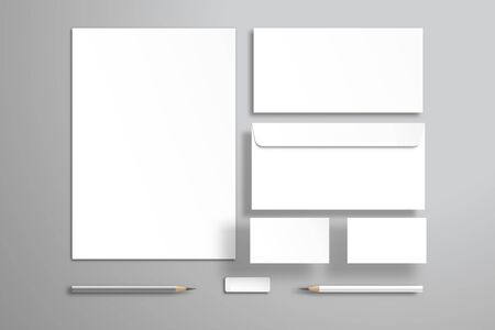 White sheet of paper or blank, two envelopes, two business cards, pencils and an eraser. Realistic mockup for design with objects that are at different levels from the surface