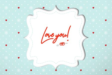 Figured frame for wedding invitations or Valentine's Day greetings on polka dot background with red hearts and snowflakes. Realistic mockup for design with sadows Illustration