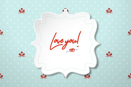 Figured frame for wedding invitations or Happy Valentine's Day greetings on polka dot background with bouquets of red roses. Realistic template for design