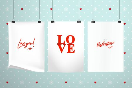 Three sheets of paper with inscriptions about love hang on clips on a background of a wall with polka dots, hearts and snowflakes. Realistic mockup for Valentine's Day or wedding Illustration