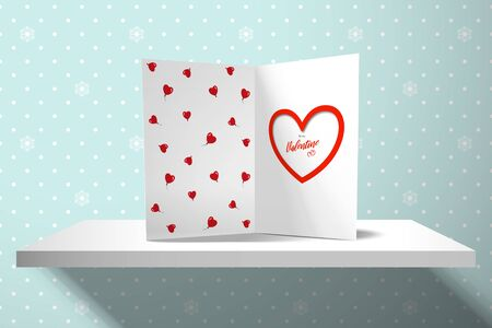 Greeting card for Valentine's Day stands on a shelf against the background of a wall with a pattern of polka dots and snowflakes. Realistic mockup for design with shadows from the window Illustration