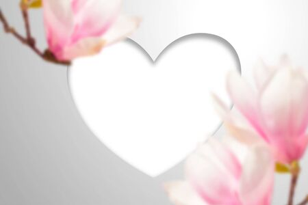 Empty Heart frame and large magnolia flowers. Realistic template for spring romantic or Valentines Day design 矢量图像