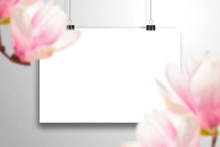 White blank horizontal poster on clips and large magnolia flowers. Realistic template for the romantic spring design or Valentine's Day Illustration