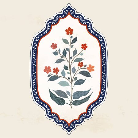 Oriental vintage ornament with flower branches in a curly frame. Indian Textile Style Illustration