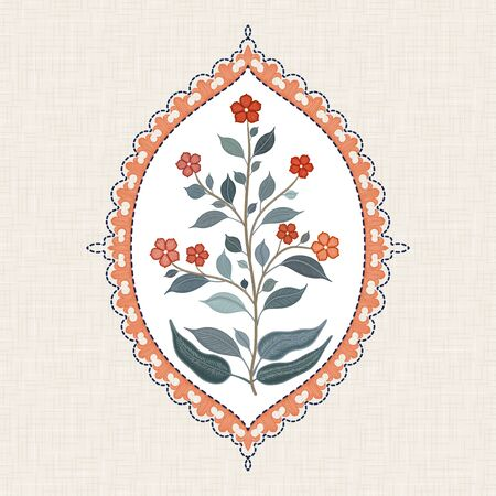 Embroidered branch with flowers and leaves in a figured indian frame on linen fabric
