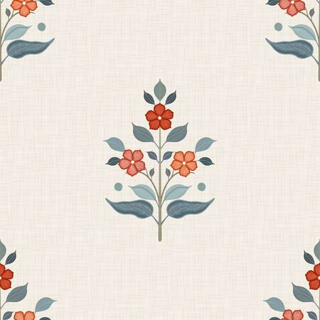 Seamless pattern with embroidered flowers on linen in oriental style Illustration