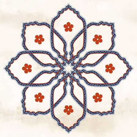 Round vintage ornament in oriental style with floral elements Illustration