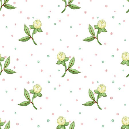 Seamless vector background with hellebore and winter pattern on backdrop