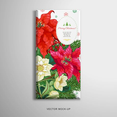 Christmas chocolate bar packaging. Poinsettia flowers, berries, hellebore and fir-tree. Winter ornament on backdrop. Place for your text Illustration