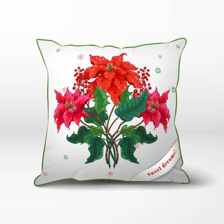 Christmas pillow. Branches of poinsettia flowers and berries. Winter snow ornament