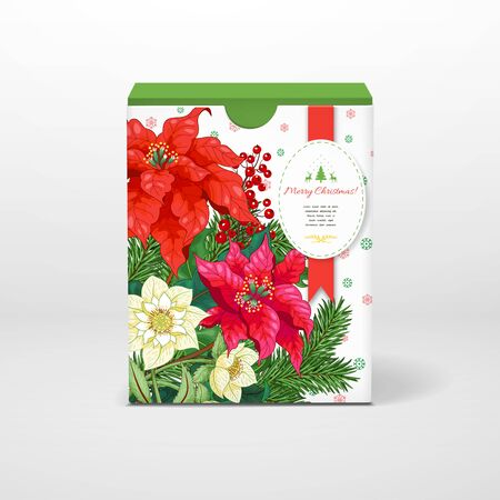 Christmas box with insertion for your text. Poinsettia flowers, berries, hellebore and fir-tree. Winter snow ornament on backdrop
