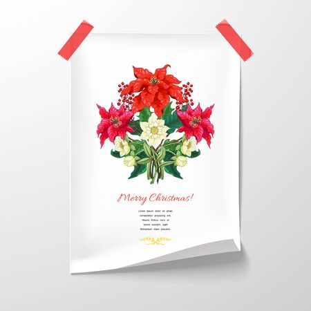 Sheet of paper glued with branches of poinsettia flowers, berries and hellebore. Place for your text