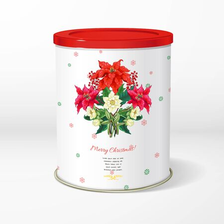 Christmas round tin packaging. Branches of poinsettia flowers, berries and hellebore. Winter snow pattern. Place for your text Illustration