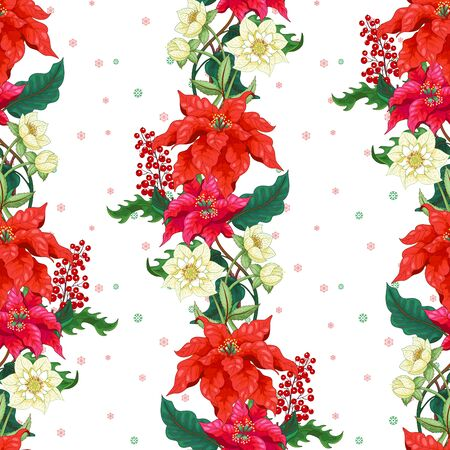 Seamless background with lines of Christmas Star flowers, hellebore and holly. Winter snow pattern on backdrop