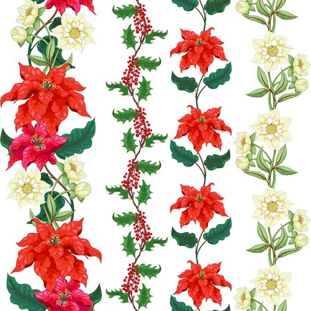 Set of seamless borders. Pattern with branches of poinsettia, holly and hellebore Illustration