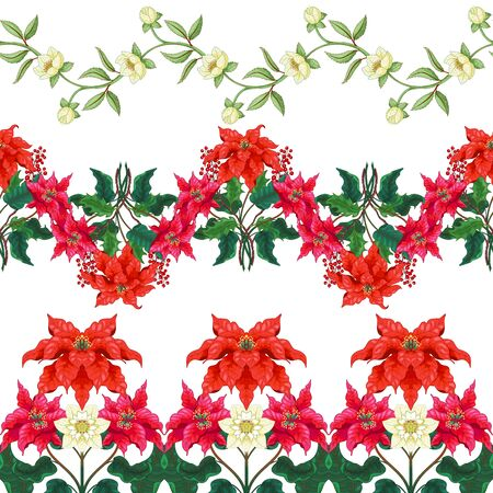 Set of three seamless borders with branches of winter flowers. Illustration