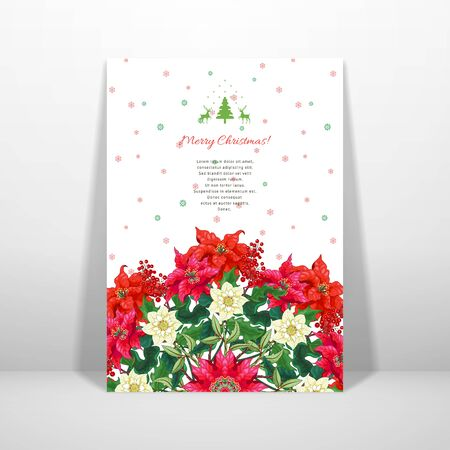 Vector card. Round pattern with branches of poinsettia and hellebore flowers, holly. Winter snow ornament on backdrop. Place for your text Illustration