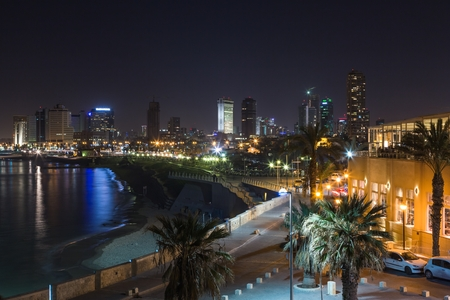 Tel aviv at night panoramic view photo