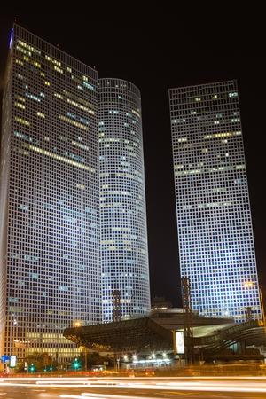 azrieli center: Tel Aviv at night   Azrieli center   Israel Editorial