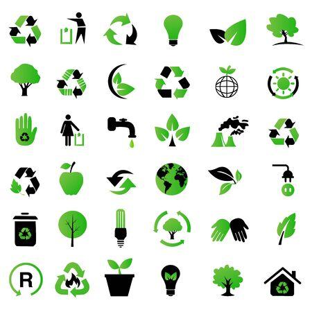 earth friendly: Vector conjunto de iconos del medio ambiente  reciclaje