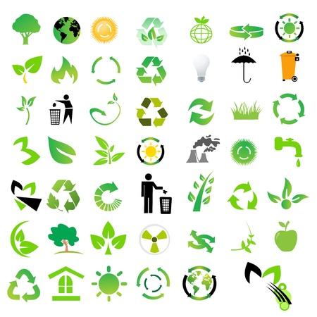 Vector conjunto de iconos del medio ambiente / reciclaje