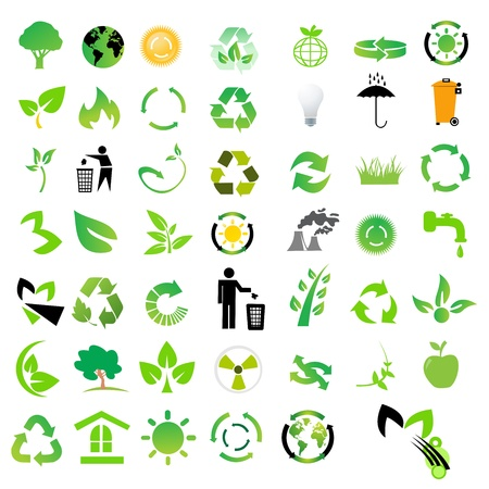 recycle tree: Vector set of environmental  recycling icons  Illustration