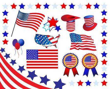 네번째: 요소와 미국의 애국심에 관련 아이콘 일러스트