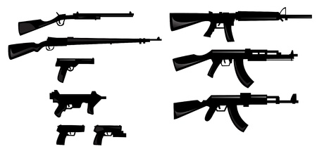 assault rifle: collection of weapon silhouettes  Illustration