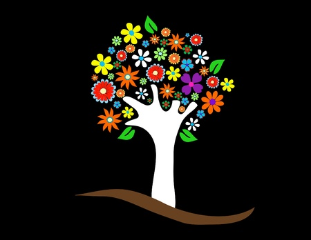 Colorful tree with flowers vector illustration Banque d'images