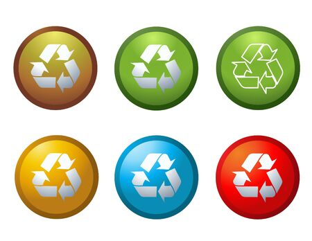 wastes: Vector recycle buttons icons symbols illustration Stock Photo