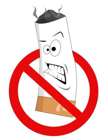 carcinogen: Dibujos animados vector no firmar fumar