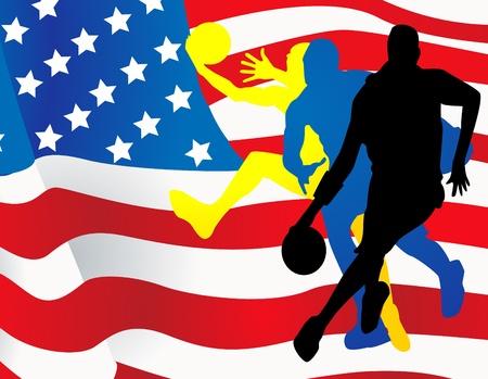 Basketball players with american flag Vector