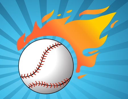 Baseball with flames Stock Vector - 10799938