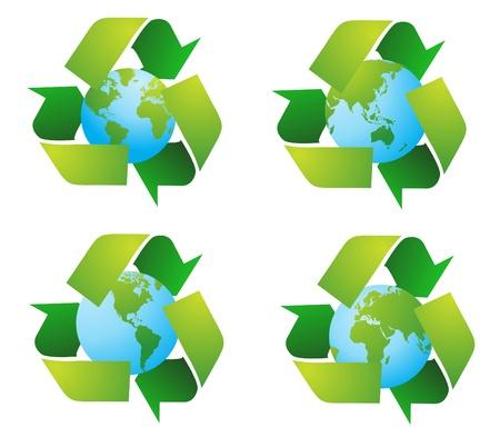 Wereld-bol met recycle tekenen Stockfoto - 10799953