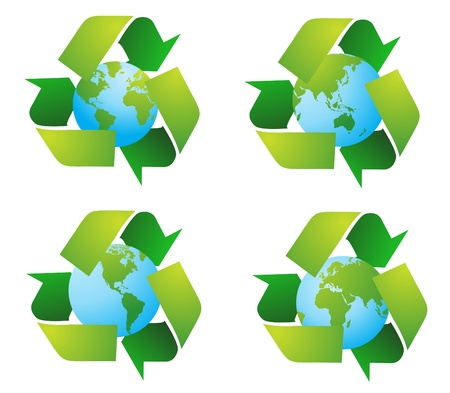 international recycle symbol: World globe with recycle signs